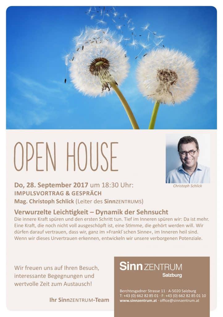 Einladung zum Open House mit Impulsvortrag im September 2017 - Christoph Schlick